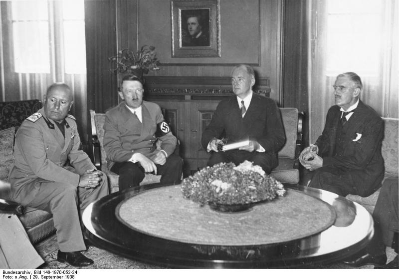 Münchener Abkommen, Mussolini, Hitler, Chamberlain